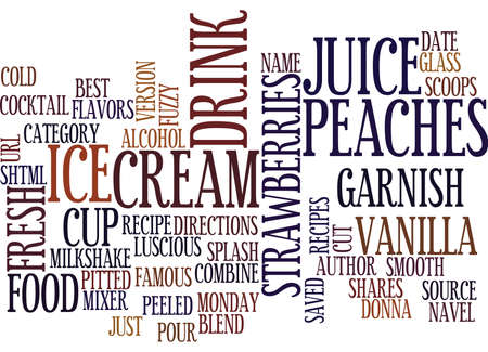 BEST RECIPES FUZZY NAVEL MILKSHAKE Text Background Word Cloud Concept