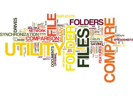 FILE FOLDER COMPARE Text Background Word Cloud Concept Illustration