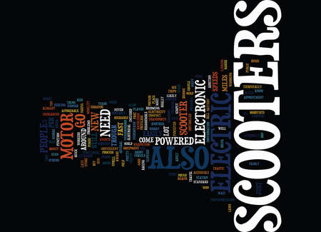 ELECTRONIC SCOOTERS Text Background Word Cloud Concept