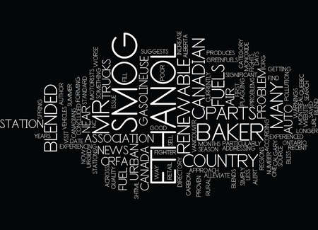 concluded: ETHANOL FIGHTS SMOG CRFA Text Background Word Cloud Concept