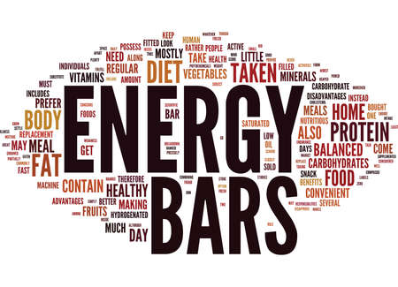 ENERGY BARS TAKEN AT HOME Text Background Word Cloud Concept