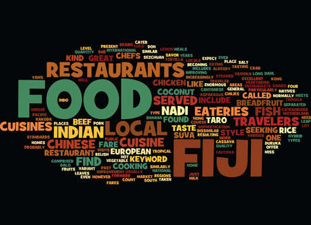 FIJI FOOD Text Background Word Cloud Concept