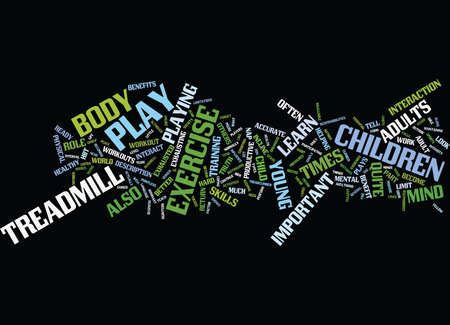EXERCISE AND PLAY Text Background Word Cloud Concept Illustration