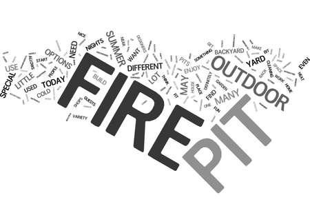 FIRE PIT ESSENTIALS Text Background Word Cloud Concept Ilustração