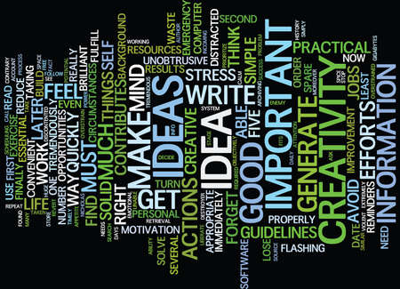 FIVE BASIC STEPS TO BENEFIT FROM YOUR CREATIVITY Text Background Word Cloud Concept
