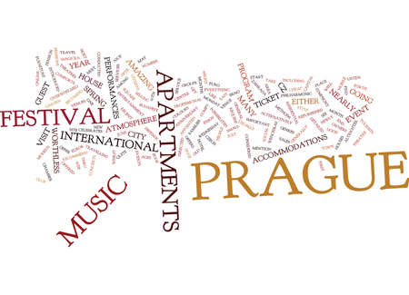 ENJOY MUSIC IN PRAGUE Text Background Word Cloud Concept