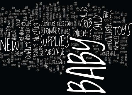 ESSENTIAL SUPPLIES FOR YOUR NEW BABY Text Background Word Cloud Concept Illustration