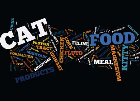FIVE CAT FOOD FACTORS THAT DISCOURAGE FELINE UTD Text Background Word Cloud Concept