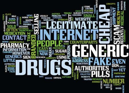 BEWARE OF FALSE POSITIVES AND FAKE GENERICS Text Background Word Cloud Concept Ilustração