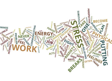EIGHT STRESS BANISHERS Text Background Word Cloud Concept Ilustracja