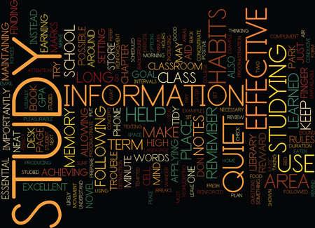 EFFECTIVE STUDY HABITS Text Background Word Cloud Concept Illustration