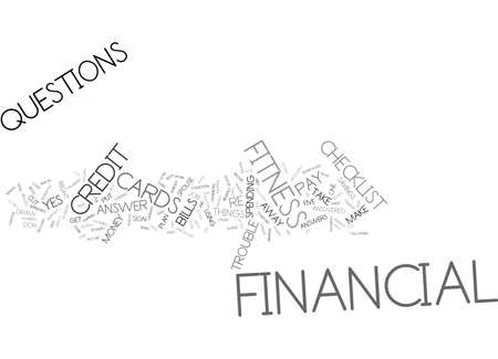FINANCIAL FITNESS CHECKLIST Text Background Word Cloud Concept