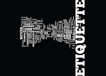ETTIQUETTE Text Background Word Cloud Concept Иллюстрация