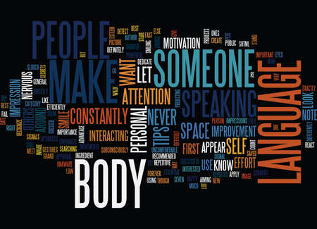 ESSENTIAL BODY LANGUAGE TIPS Text Background Word Cloud Concept