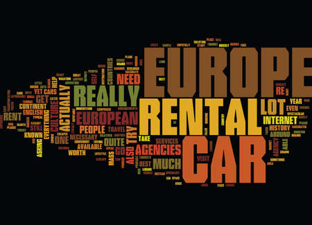 EUROPE CAR RENTAL Text Background Word Cloud Concept Illustration
