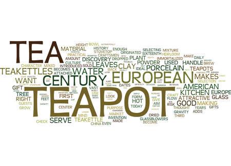 EUROPESE TEAPOTTEIKETTLE DIE HET WEST-Tekstachtergrondwordword Concepten BESLOTEN