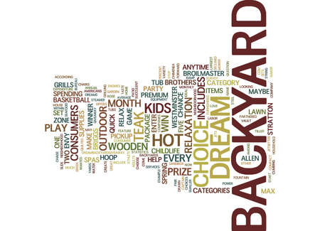 EVERY MONTH A CHANCE TO WIN A DREAM BACKYARD Text Background Word Cloud Concept