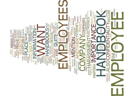 EMPLOYEE HANDBOOK Text Background Word Cloud Concept 向量圖像