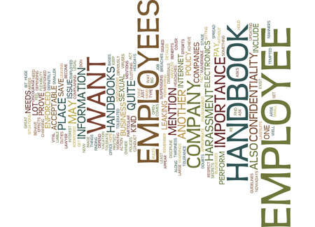 EMPLOYEE HANDBOOK Text Background Word Cloud Concept Illustration
