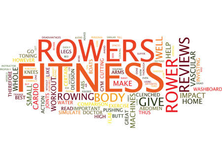 FITNESS ROWERS REVIEWS Text Background Word Cloud Concept