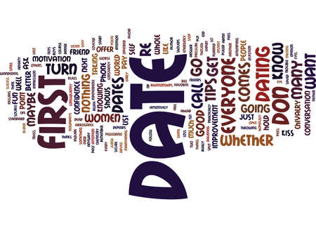 turn table: FIRST DATE TIPS AND TRICKS Text Background Word Cloud Concept