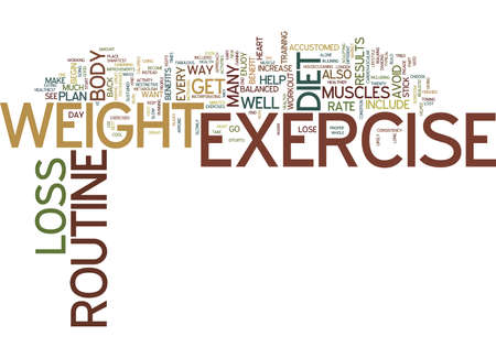 FIND YOUR OWN WEIGHT LOSS EXERCISE ROUTINE Text Background Word Cloud Concept