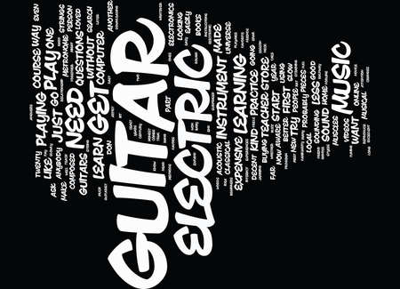 metronome: ELECTRIC GUITAR FOR BEGINNERS Text Background Word Cloud Concept