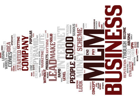 EVALUATE A MLM BUSINESS LEAD Text Background Word Cloud Concept
