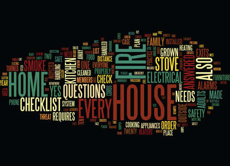 FIRE SAFETY CHECKLIST FOR HOME Text Background Word Cloud Concept Ilustracja
