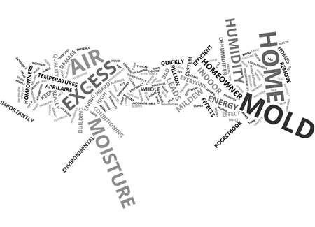 LUCHTVOCHTIGHEID LEIDT TOT SCHIMMEL Tekstachtergrond Word Cloud Concept Stock Illustratie