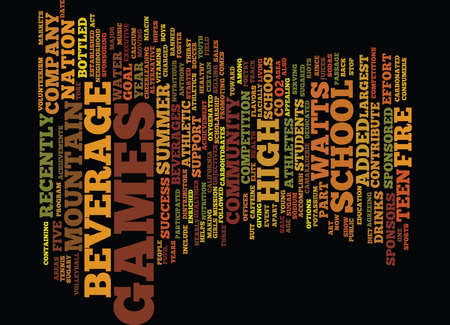 BEVERAGE COMPANY SPONSORS TEEN GAMES Text Background Word Cloud Concept