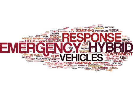 EMERGENCY HYBRID RESPONSE VEHICLES Text Background Word Cloud Concept