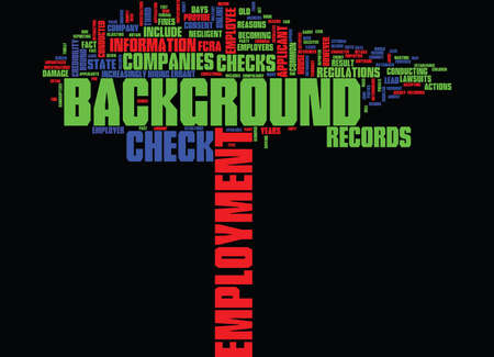 EMPLOYMENT BACKGROUND CHECK Text Background Word Cloud Concept