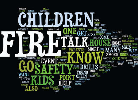 FIRE SAFETY FOR KIDS Text Background Word Cloud Concept 向量圖像