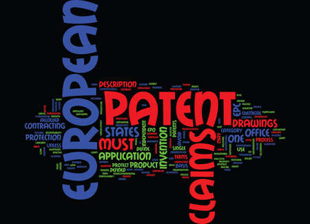 EUROPEAN PATENT Text Background Word Cloud Concept