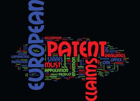 EUROPEAN PATENT Text Background Word Cloud Concept