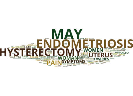 ENDOMETRIOSIS AND HYSTERECTOMY WEIGH THE RISKS Text Background Word Cloud Concept