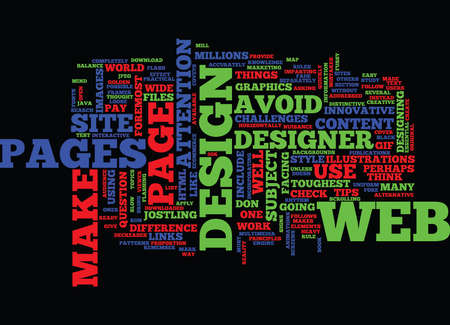 ESSENTIAL TIPS FOR A WEB DESIGNER Text Background Word Cloud Concept
