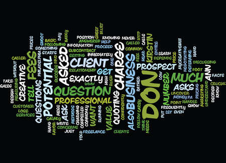 EXACTLY WHAT TO SAY WHEN ASKED HOW MUCH DO YOU CHARGE Text Background Word Cloud Concept Illusztráció