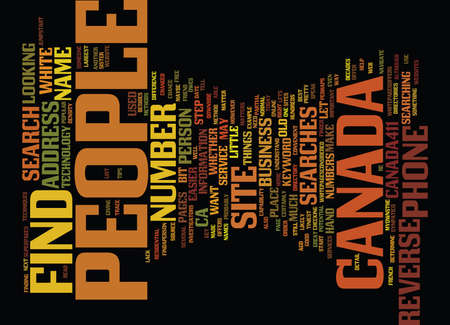 reverse: FIND PEOPLE IN CANADA Text Background Word Cloud Concept