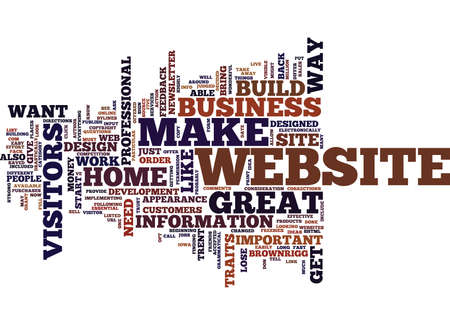 ESSENTIAL TRAITS OF A HOME BUSINESS WEBSITE Text Background Word Cloud Concept