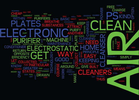 ELECTRONIC AIR CLEANERS LOW ON MAINTENANCE HIGH ON EFFICIENCY Text Background Word Cloud Concept