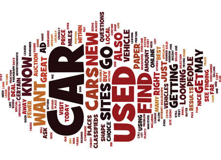 FIND A USED CAR Text Background Word Cloud Concept