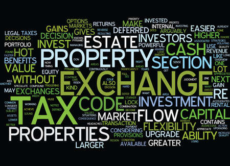 EXCHANGE TAX DEFERRED BENEFITS ARE HARD TO IGNORE Text Background Word Cloud Concept