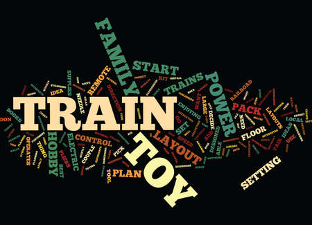 ELECTRIC TOY TRAINS Text Background Word Cloud Concept