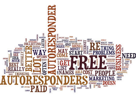 FREE AUTORESPONDERS PRO AND CONS Text Background Word Cloud Concept