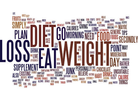 FOODS TO SUPPLEMENT YOUR WEIGHT LOSS DIET Text Background Word Cloud Concept Illustration