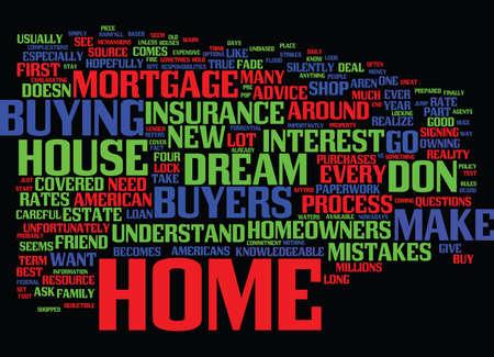 FOUR MISTAKES HOME-KOPERS MAKEN Tekstachtergrond Word Cloud Concept Stock Illustratie