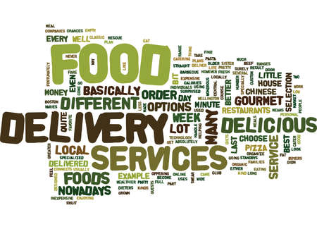 FOOD DELIVERY SERVICES Text Background Word Cloud Concept 向量圖像