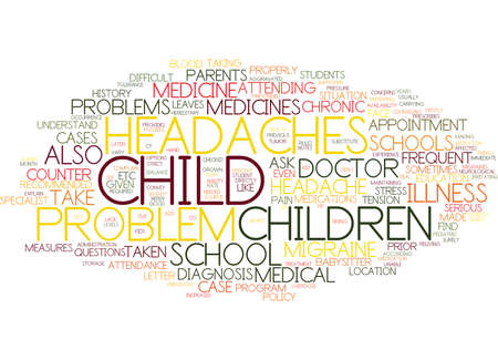 FREQUENT HEADACHES AND MIGRAINE IN CHILDREN Text Background Word Cloud Concept